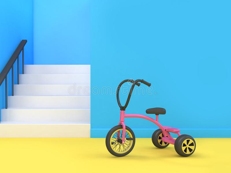 blue scene staircase-stairway yellow floor kid tricycle 3d rendering abstract minimal 3d render cartoon style stock illustration