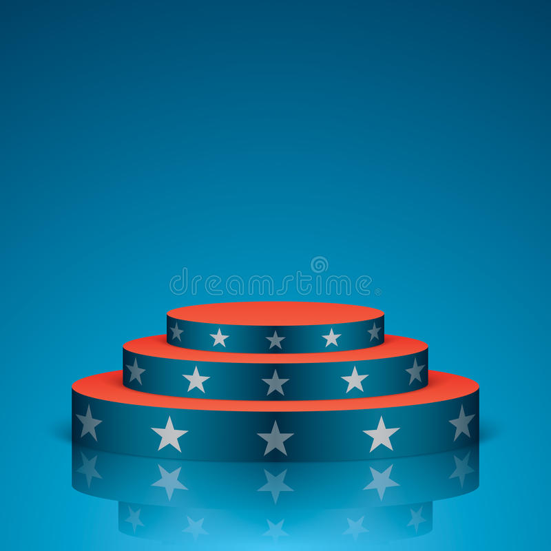 Blue scene with white stars. Blue vector stage with red stairs and white stars, on a background. Show scene in a USA flag colors royalty free illustration