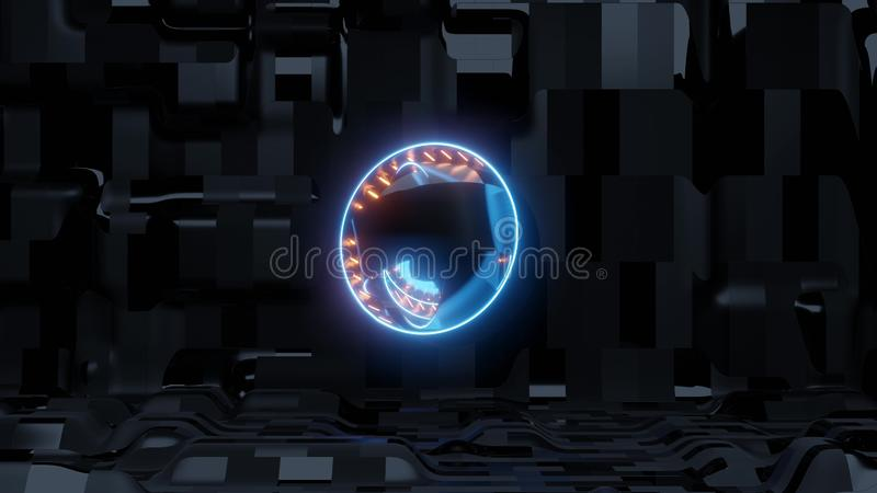 Blue scifi eye with alien ship background and orange lights royalty free illustration
