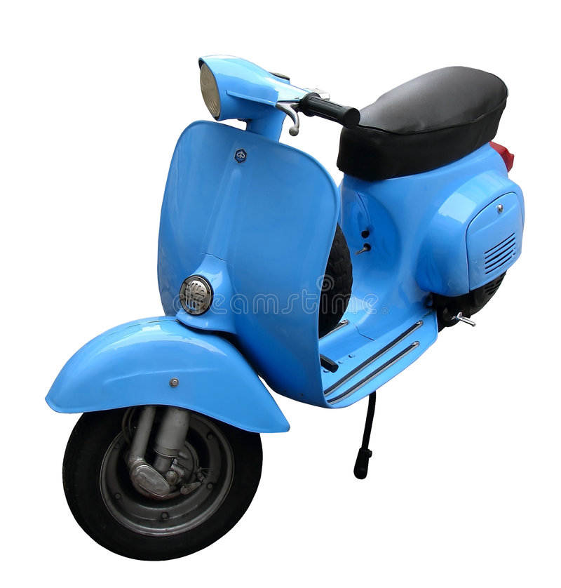 Blue Scooter. Beautiful blue scooter isolated on white