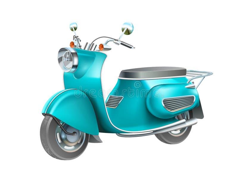 Blue scooter motorbike. Isolated illustration. vespa bike. Blue scooter motorbike. Isolated illustration. vespa bike royalty free illustration
