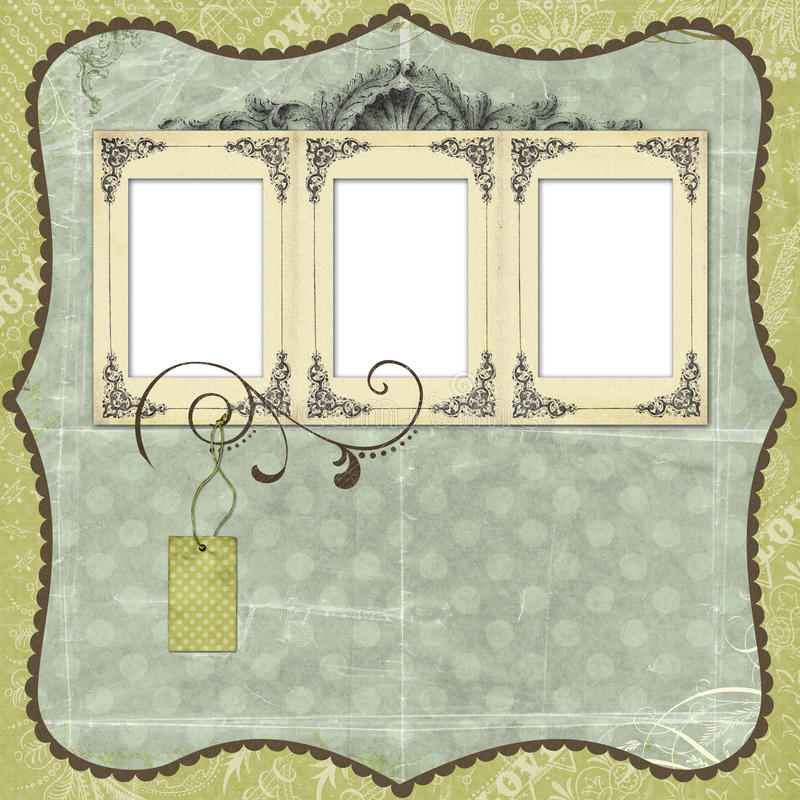 Blue Scrapbook Layout With Vintage Embellishments Royalty Free Stock Image