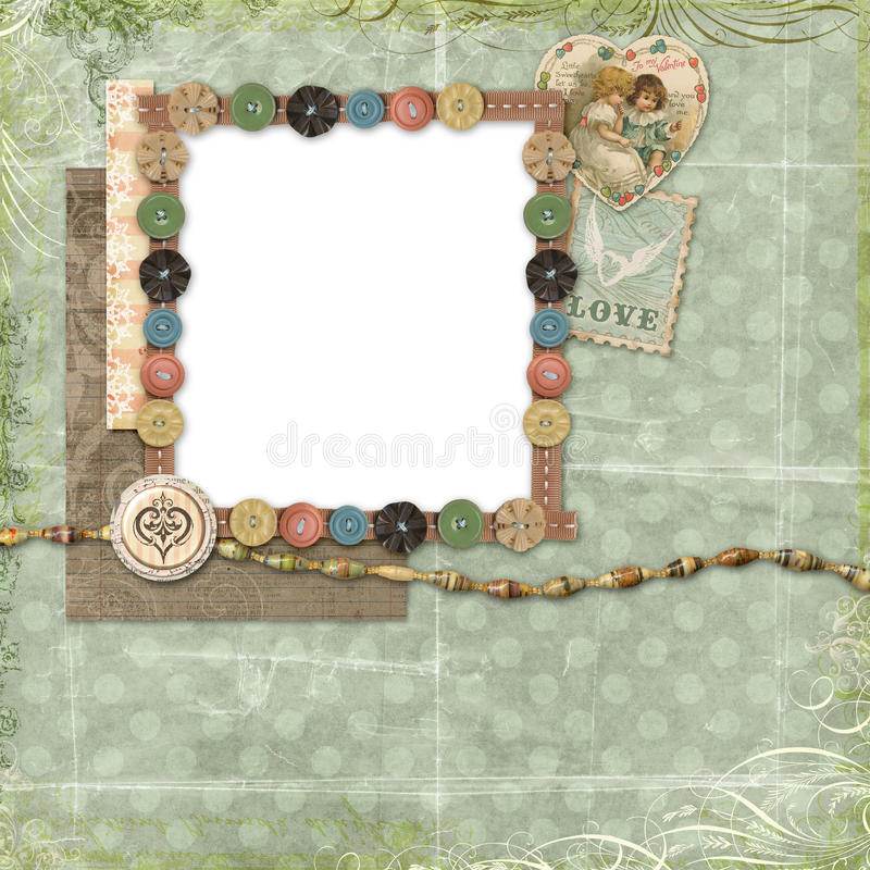 Free Blue Scrapbook Layout With Vintage Embellishments Stock Images - 12552044