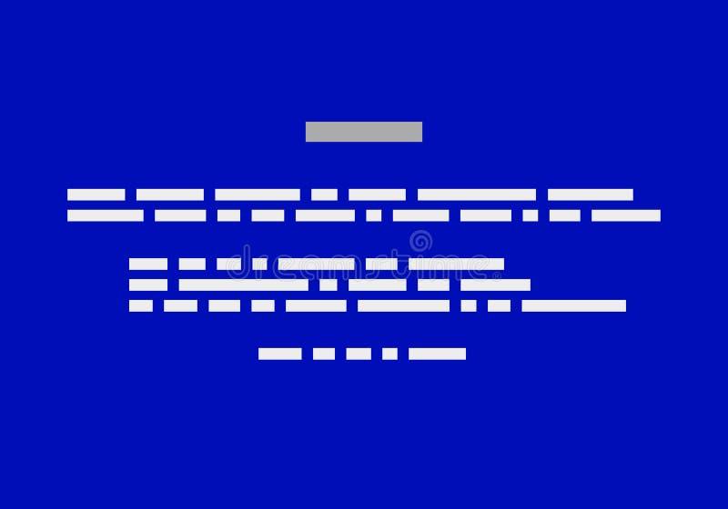 Blue Screen de la muerte BSOD Fondo del informe del desplome Vector stock de ilustración