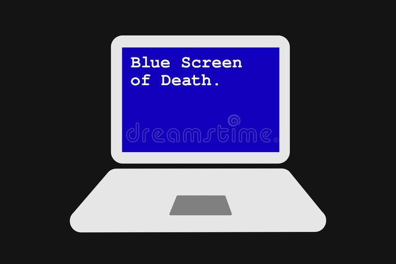 Blue Screen of Death. Operating system is not working on the computer after error and collapse of software. Problem, trouble and breakdown of laptop. Vector vector illustration