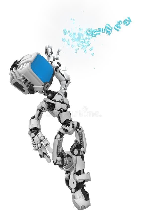 Blue Screen Robot, Data Box Catch Royalty Free Stock Photography
