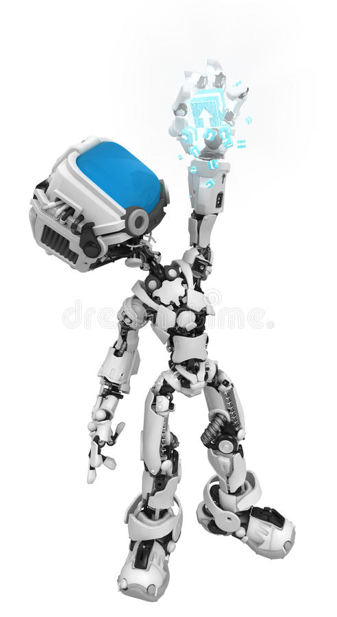 Blue Screen Robot, Data Box Hold Royalty Free Stock Images