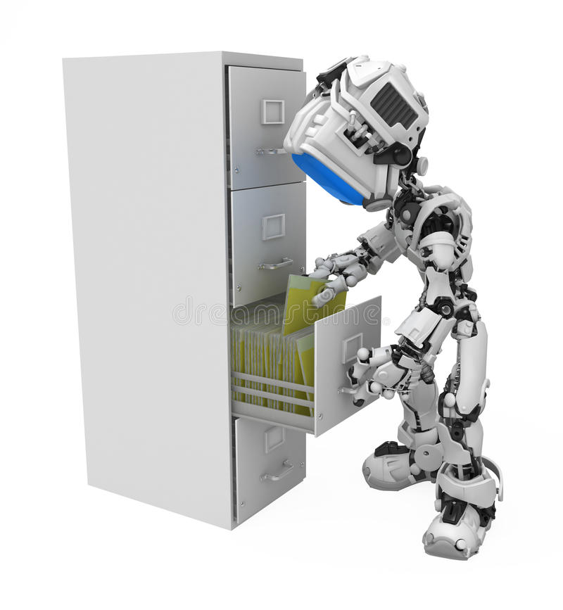 Download Blue Screen Robot, Filing Cabinet Royalty Free Stock Photography - Image: 12883347