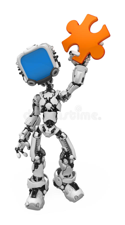 Blue Screen Robot, Jigsaw Piece. Small 3d robotic figure, over white, isolated stock illustration