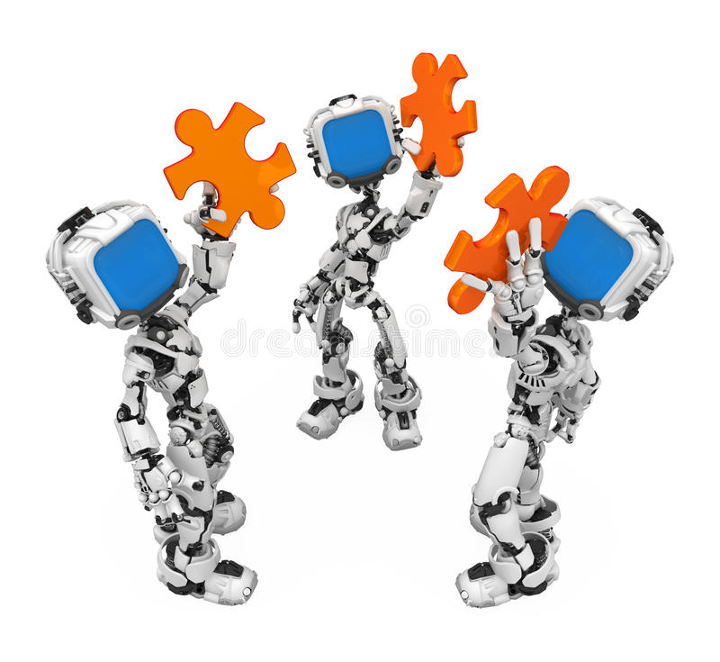 Blue Screen Robot, Jigsaw Piece Group. Small 3d robotic figures, over white, isolated vector illustration