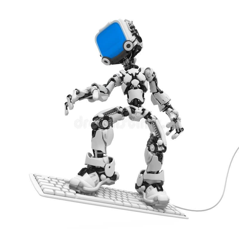 Blue Screen Robot, Keyboard Surf stock illustration