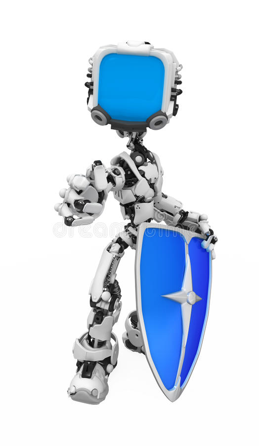 Blue Screen Robot, Shield Pose. Computer security metaphor 3d robotic figure, over white, isolated royalty free illustration