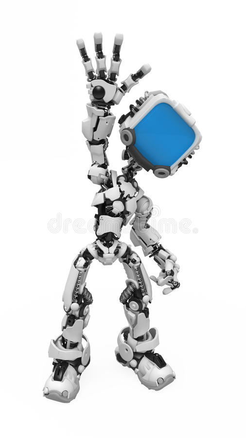 Download Blue Screen Robot, Waving stock illustration. Image of attention - 12291615