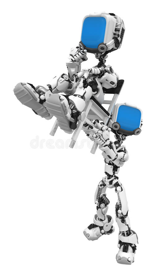 Blue Screen Robots, Chair Lift Stock Photo
