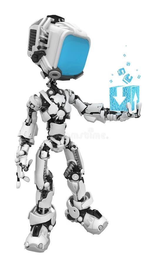 Blue Screen Robots, Data Box Stock Photos