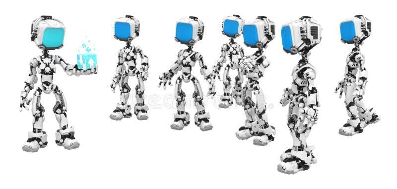Blue Screen Robots, Data Box Show Royalty Free Stock Photography