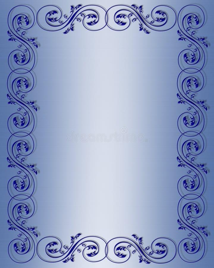 Blue Scroll Border Design stock illustration