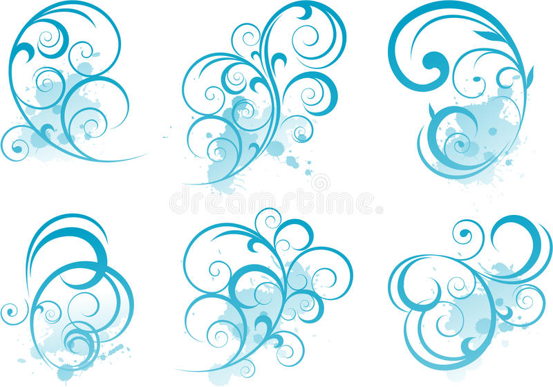Download Blue scroll shape stock vector. Illustration of drawing - 15164965