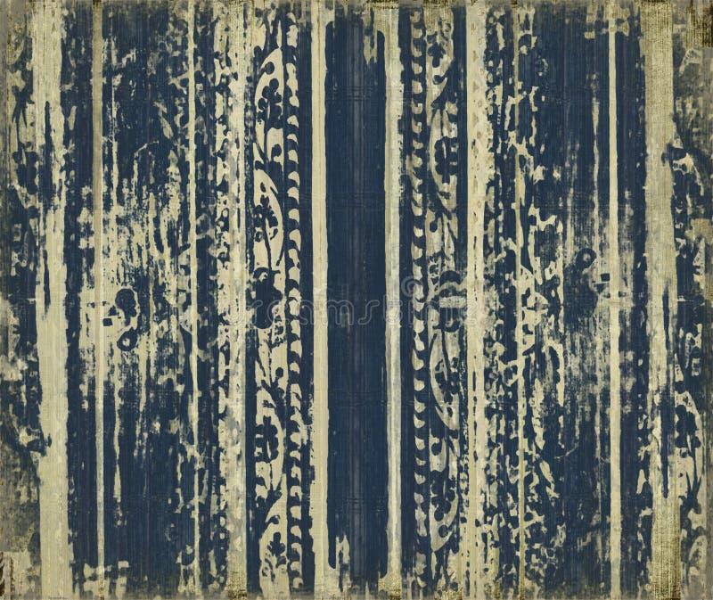 Download Blue Scroll-work Grunge Wood Stripes Stock Illustration - Image: 11949936