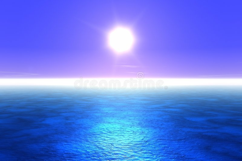 Blue Sea. Sunset over a deep blue sea. This is a 3D rendered picture stock illustration