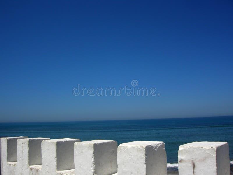 Blue Sea Assilah city summer. Atlantic ocean morocco asillah summertime beach tradition stock image