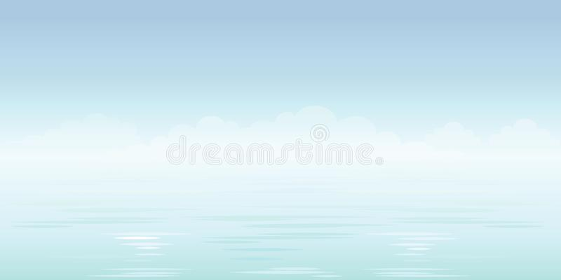 Blue sea background. Sky, clouds and ocean. Vector royalty free stock image