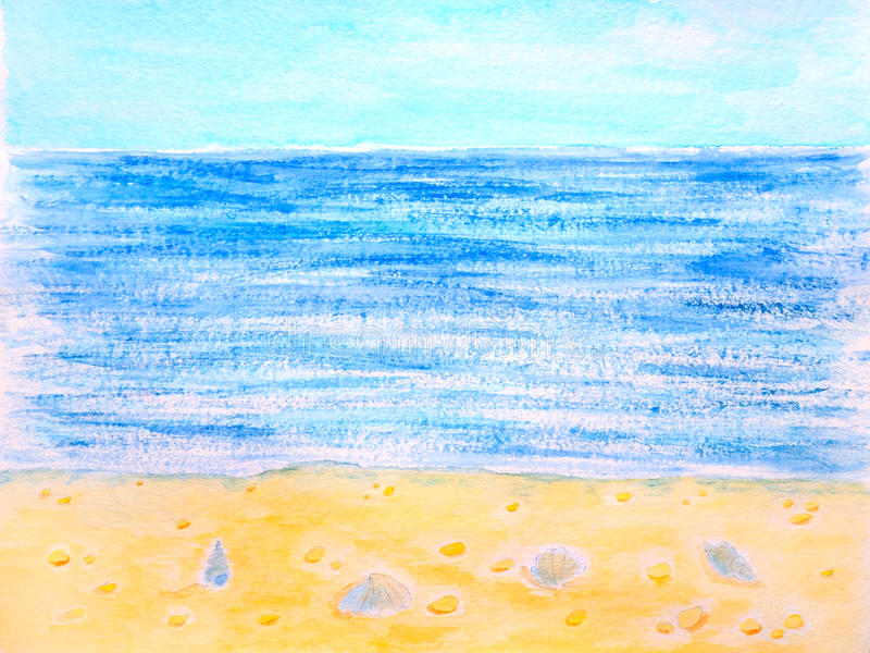 Blue sea, beach and cockleshell watercolor. Hand drawn and painted stock image