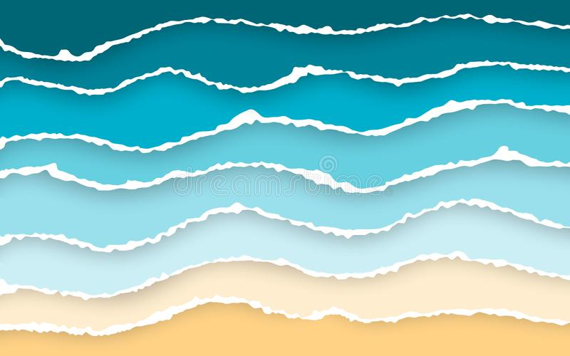 Blue sea and beach summer background. Torn paper stripes. Ripped squared horizontal paper strips. Torn paper edge. Vector royalty free illustration