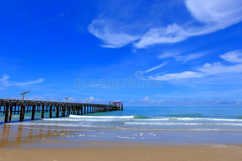 Blue sea,blue sky and local pier royalty free stock image