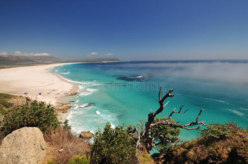 Blue Sea Cape town. View down Noordhoek Beach near cape Town royalty free stock image