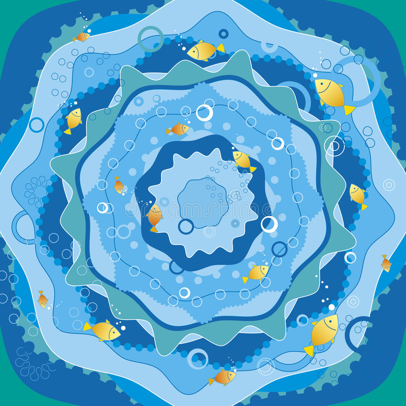 Blue sea with fish, vector vector illustration