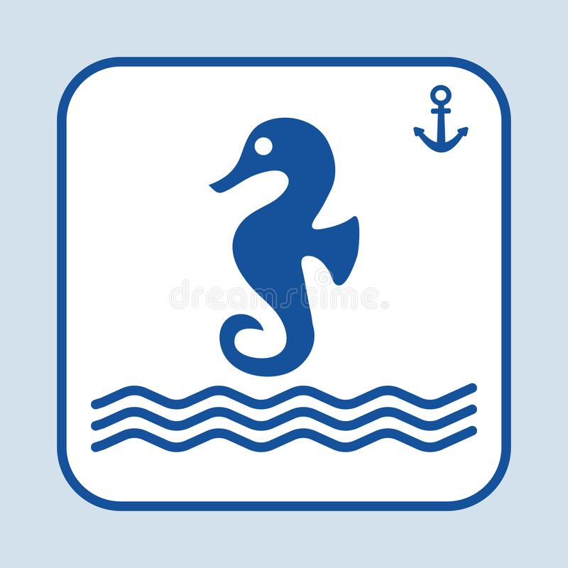 Blue sea horse icon, swimming in the sea or ocean. Sign anchor. Marine theme. Vector illustration stock illustration
