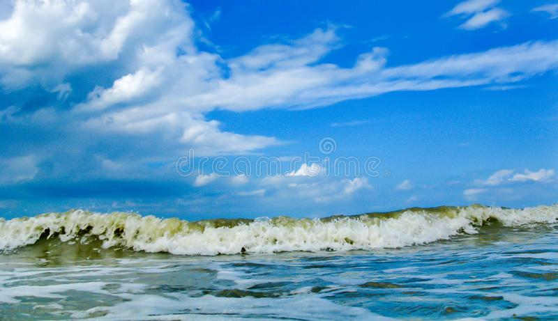 Blue sea, ocean, in cloudy weather and strong wind stock photos