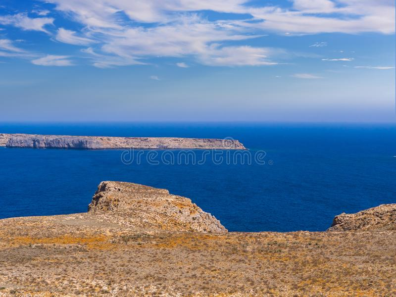 Blue sea and rocky island seen from Gramvousa fort in Crete. Greece royalty free stock photography