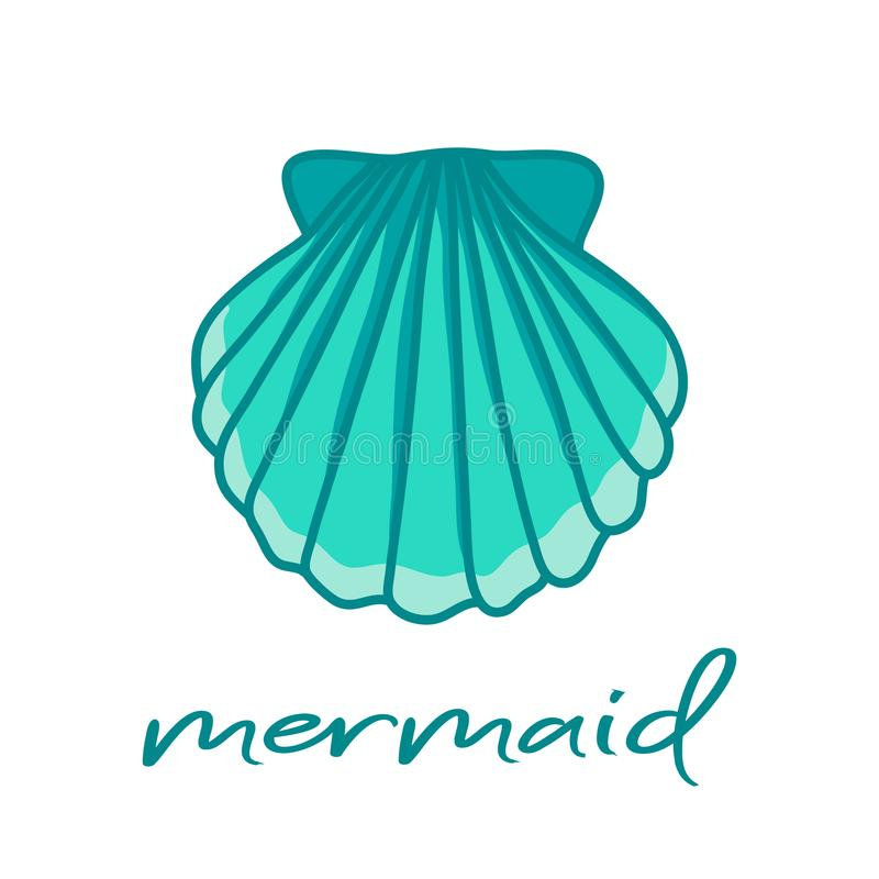Blue sea shell and mermaid writing. Hand drawn illustration vector. stock illustration