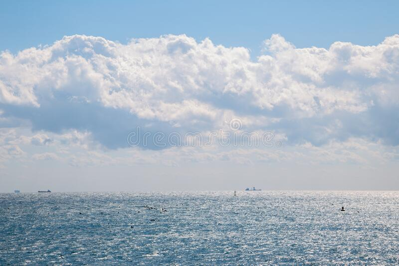 Blue sea and sky with cloud in Busan, Korea. Asia royalty free stock photos