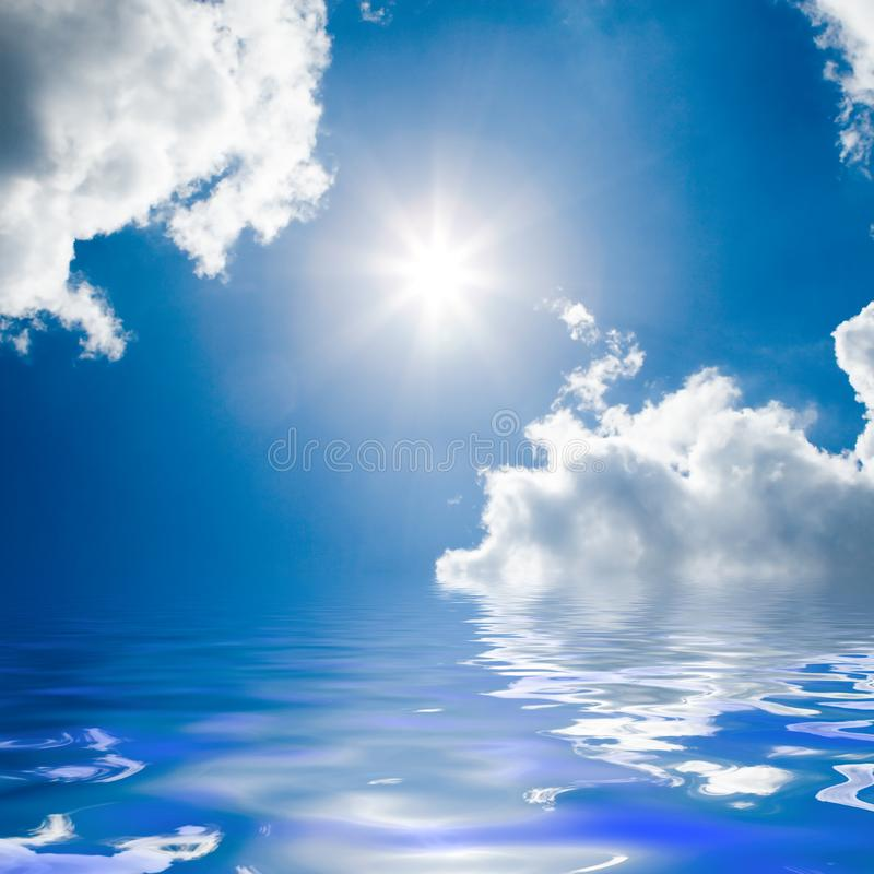 Blue sea and sunny sky stock photography