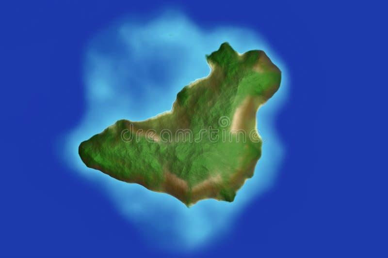 Blue sea water around green lush island. Blue water around green lush island stock images