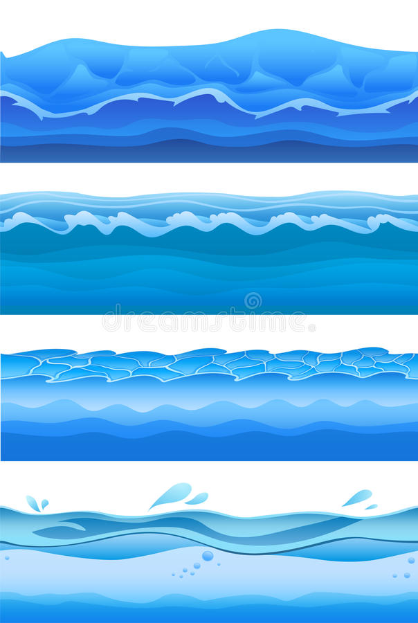 Blue sea water waves, seamless background set for game design. Vector illustration, isolated on white. stock illustration