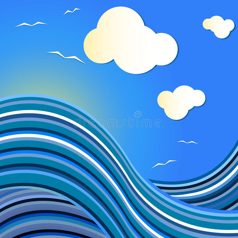 Blue sea wave drawing. With flying gulls stock illustration