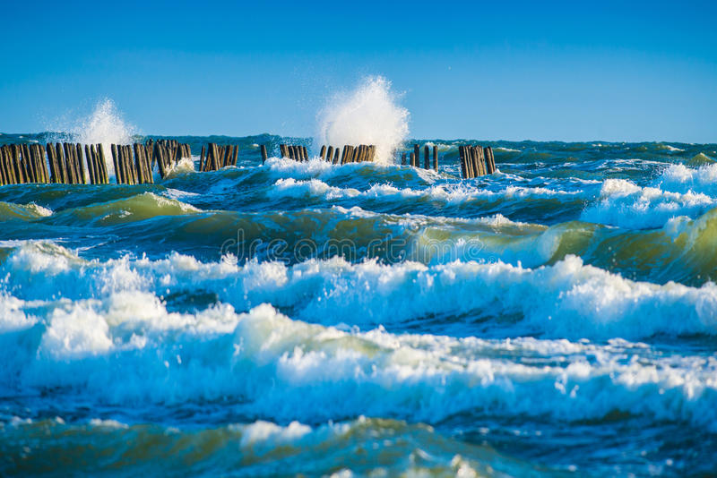 Blue sea waves. Blue sea or ocean waves and sky royalty free stock photos