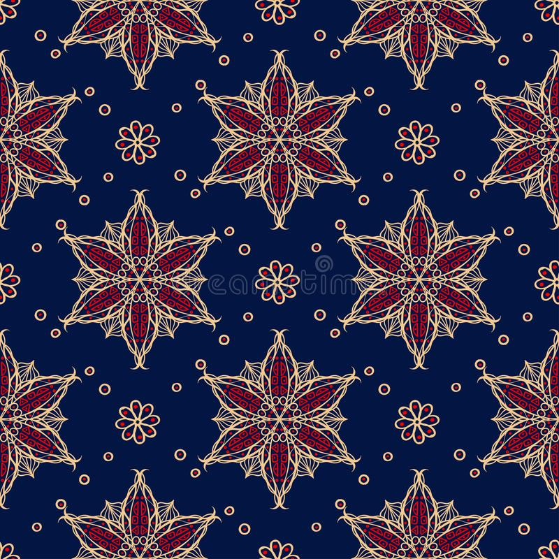 Blue seamless background. Floral beige and red pattern royalty free illustration
