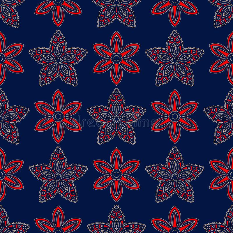 Blue seamless background. Floral beige and red pattern stock illustration