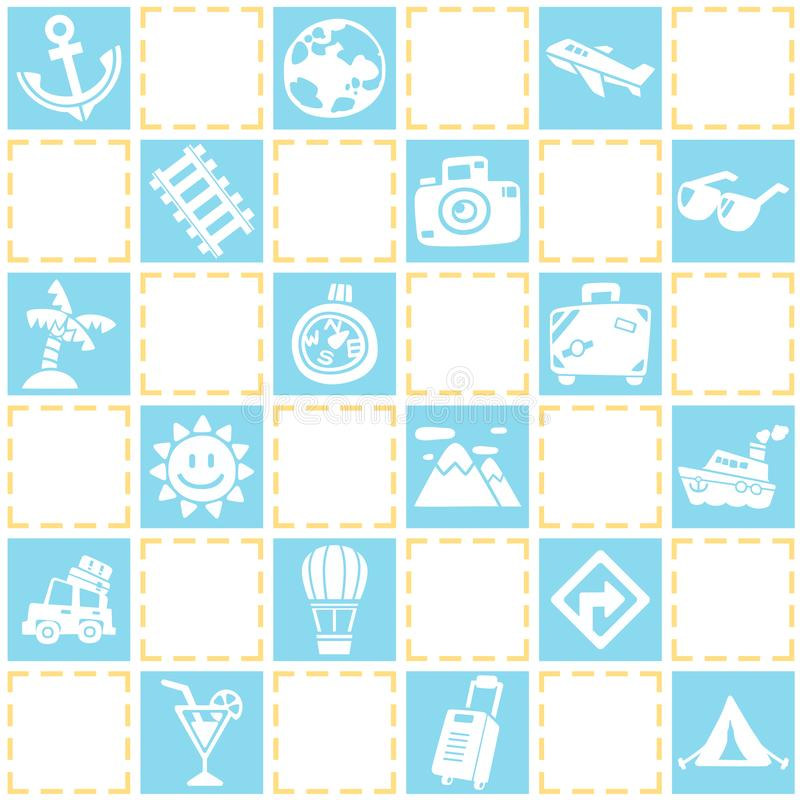 Blue seamless background of travel/vacation pattern theme. stock image