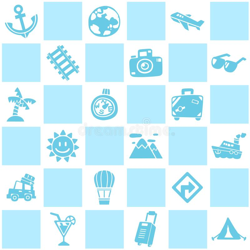 Blue seamless background of travel/vacation pattern theme. stock photo