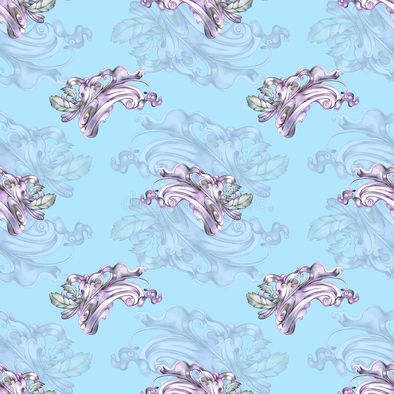 Blue seamless in boho style royalty free illustration