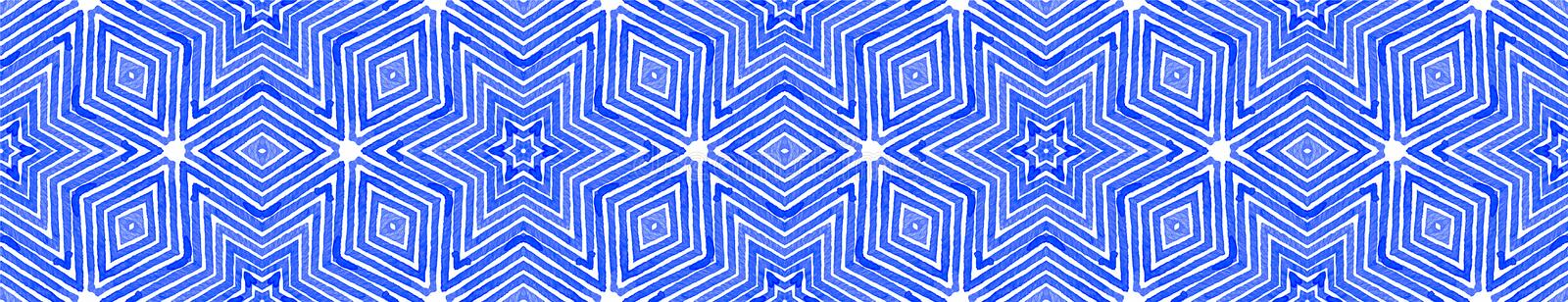 Blue Seamless Border Scroll. Geometric Watercolor royalty free stock photography