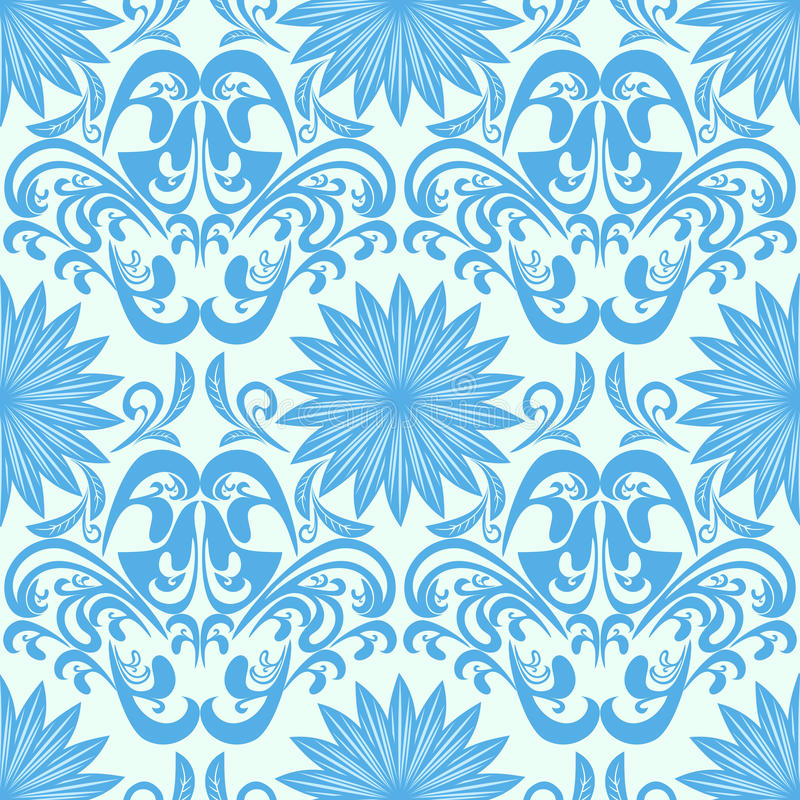Download Blue Seamless Floral Damask Wallpaper Stock Vector - Illustration of continuous, elegant: 33028609