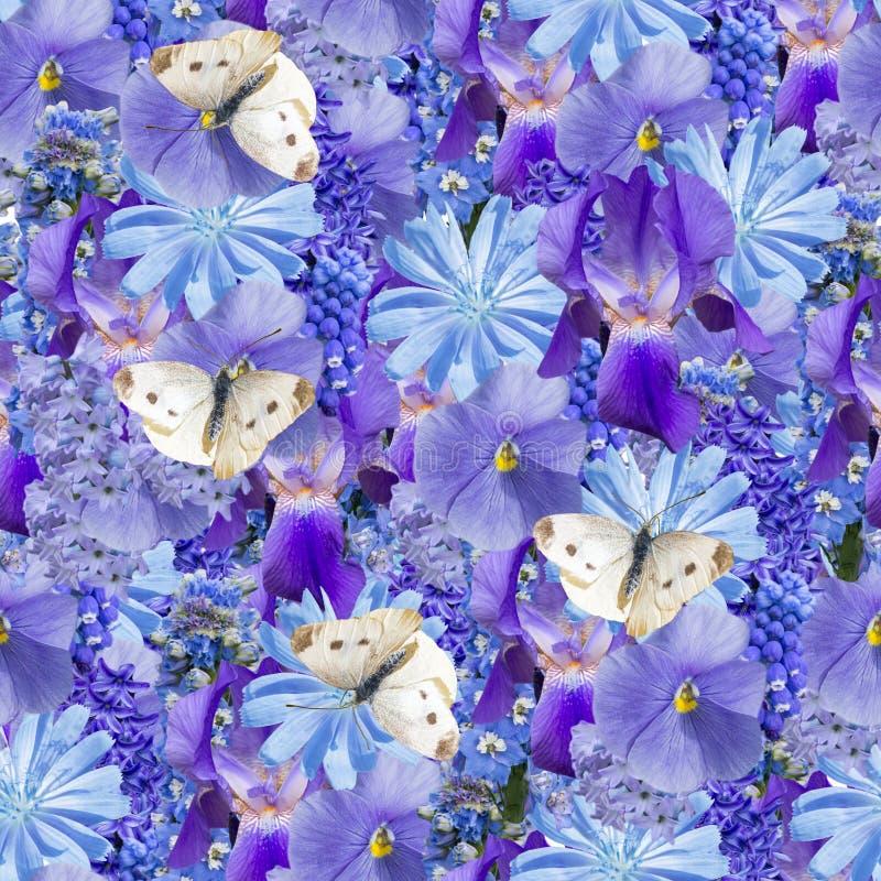 Blueseamless floral pattern. stock image