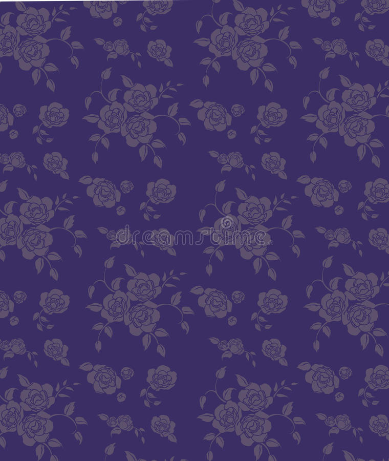 Blue seamless flower background. Drawing of flower pattern in a blue background royalty free illustration